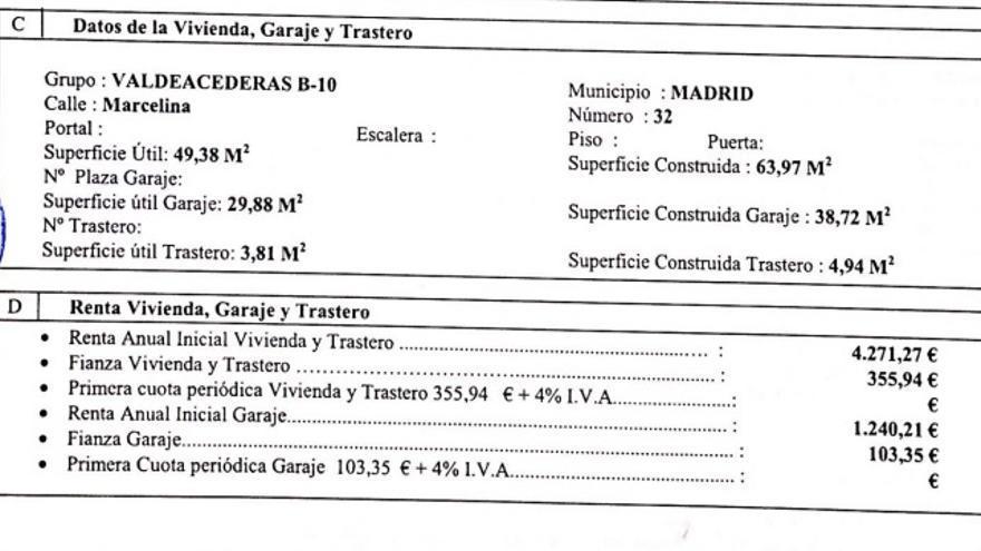 Contrato del inquilino de una de las promociones cercanas a Plaza de Castilla.