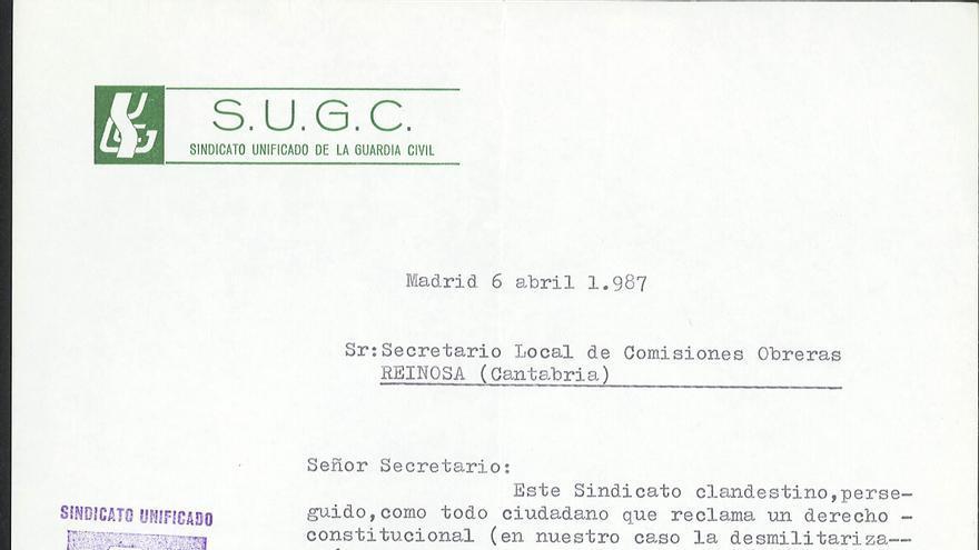 Carta del Sindicato clandestino de la Guardia Civil a los obreros de Reinosa.
