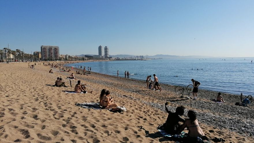 Playa de Sant Sebastià este mañana