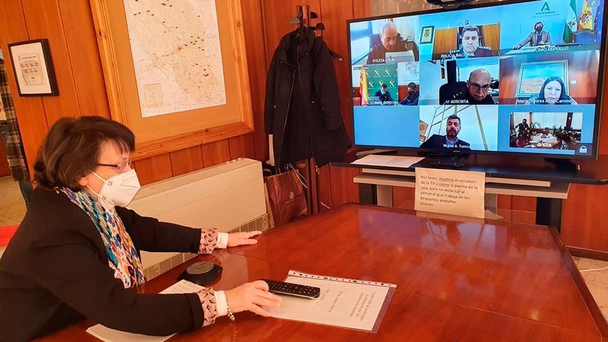 Imagen de archivo de una Junta Local de Seguridad por videoconferencia.
