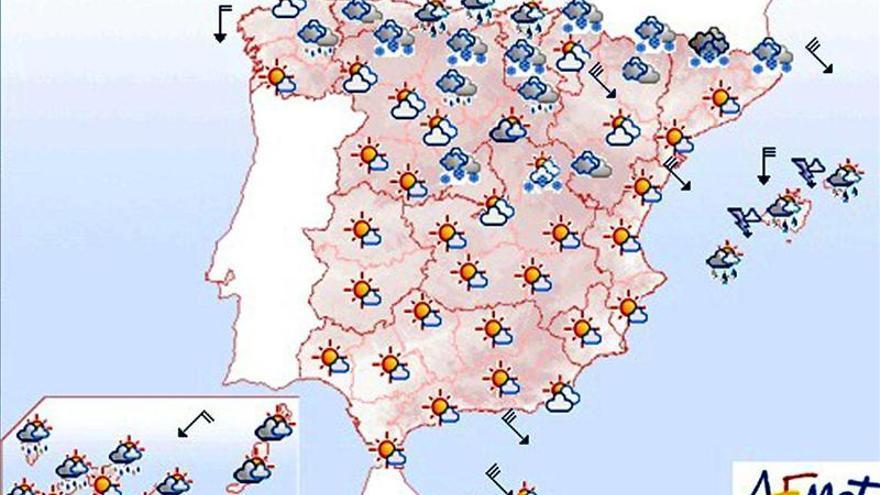 Mañana, descenso de temperaturas, y lluvias y vientos fuertes en el noreste