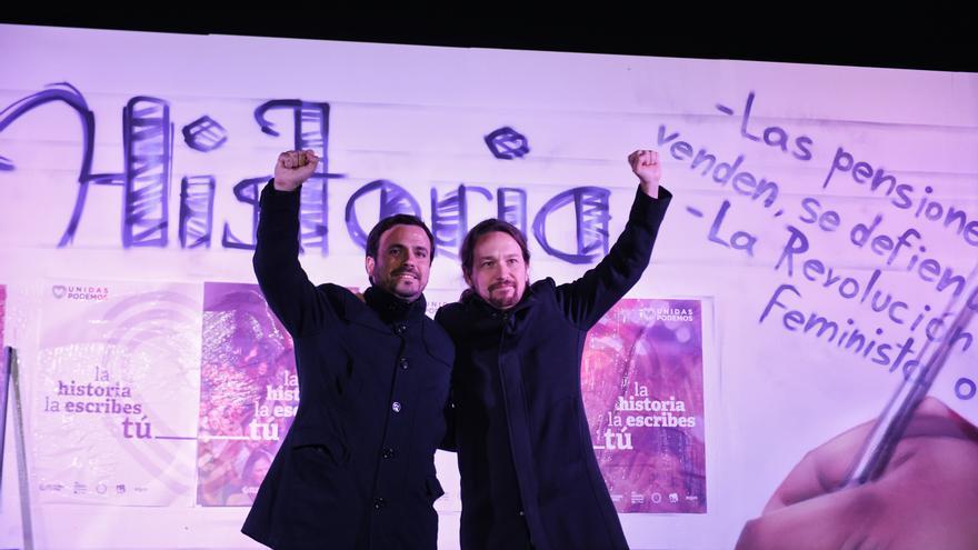 Pablo Iglesias y Alberto Garzón, en el arranque de la campaña de las elecciones del 28 de abril.