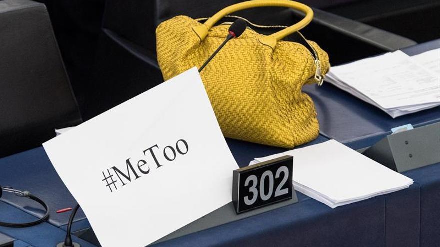 Protesta en el Parlamento Europeo contra el acoso sexual.