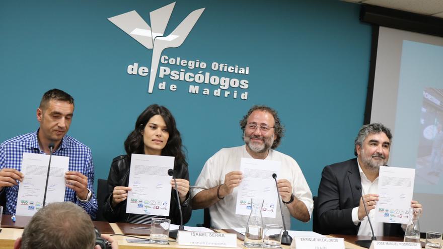 José Manuel Rodríguez Uribes (PSOE), Isabel Serra (Unidas Podemos), Emilio Delgado (Más Madrid) y Enrique Villalobos (presidente de la FRAVM)