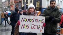La concentración en Dublín convocó a jóvenes que habían emigrado por motivos laborales