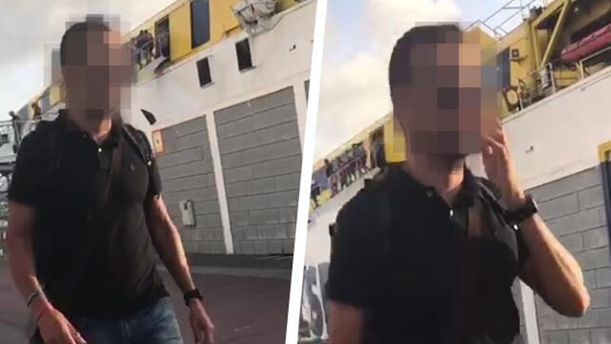 El escolta que acompañó a Soria y a su esposa durante este periplo, instantes depués de desembarcar en Las Palmas de Gran Canaria del ferry de Fred Olsen procedente de Fuerteventura.