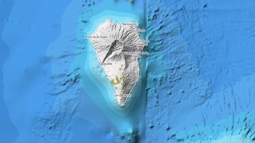 Mapa del IGN donde se localizó el enjambre sísmico en la dorsal sur de Cumbre Vieja. Imagen IGN.