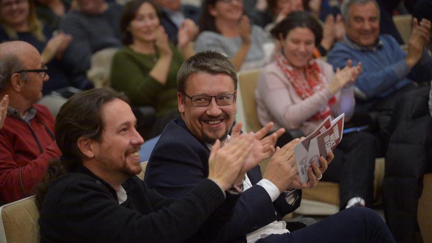 Pablo Iglesias y Xavier Domènech, en el mitin de Tarragona.