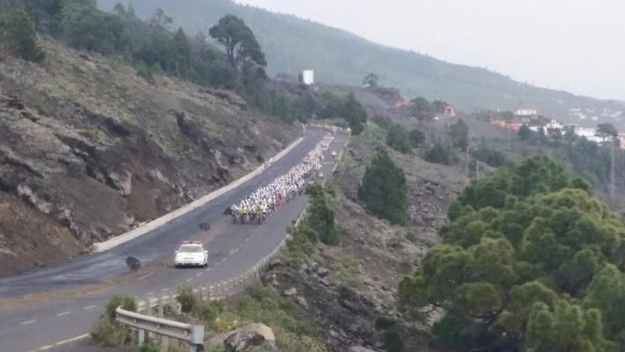El multidiario pelotón de ciclistas en un momento de la primera carrera popular Safe Bike La Palma celebrada el domingo. Foto: Jorge González