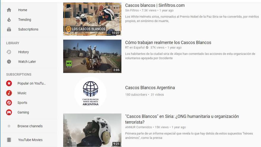 """Primera página de resultados en YouTube al término """"Cascos Blancos"""""""