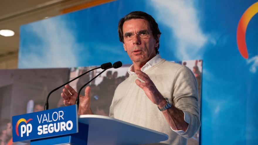 El expresidente del Gobierno, José María Aznar, en un acto del Partido Popular en Barcelona.