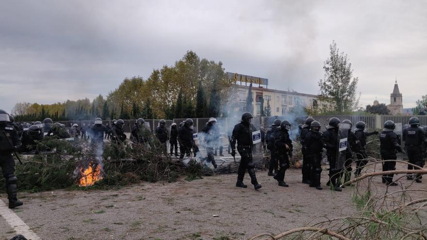 Llegan las BRIMO en la manifestación de la AP-7 en Salt (Girona) convocada por Tsunami Democràtic