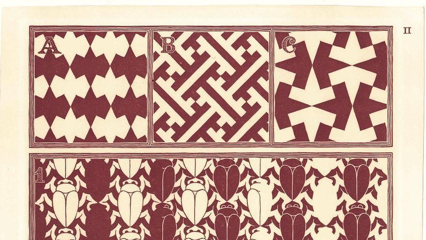 División regular del plano II 1957 Xilografía en rojo, 24x18 cm The Escher Foundation Collection All M.C. Escher works © 2017 The M.C. Escher Company. All rights reserved