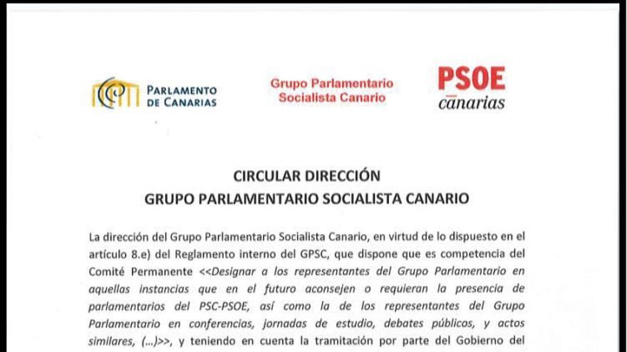 Circular interna del Grupo Socialista en el Parlamento de Canarias que desautoriza a su presidenta y a los diputados Matos y Corujo como interlocutores de la Ley del Suelo