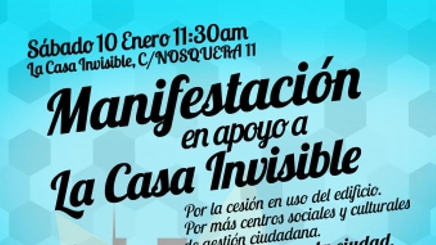 Cartel de la manifestación por la Casa Invisible de Málaga