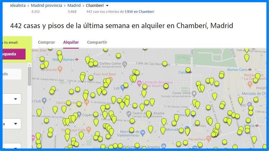 Pisos puestos en alquiler en Chamberí durante la última semana en el portal Idealista