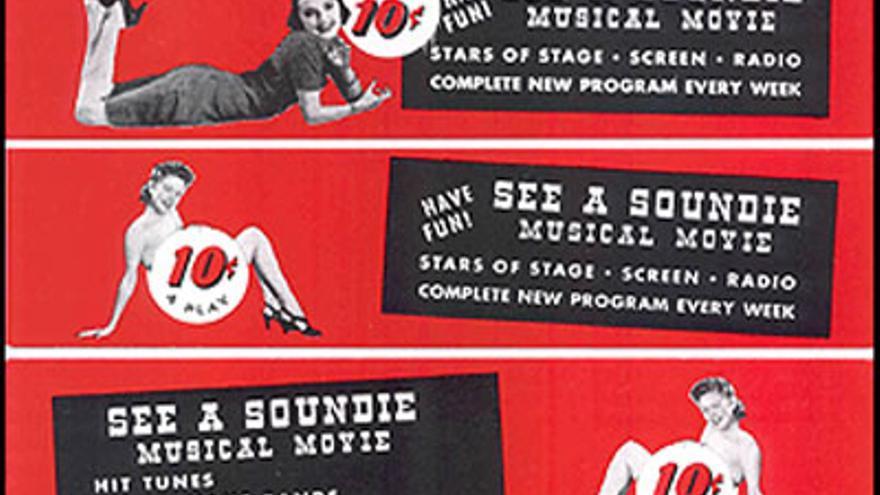 Anuncio de la época de los 'soundies', cuyo precio era de solo diez centavos