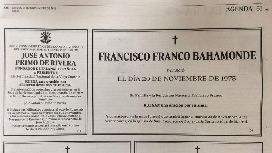 Las esquelas de Francisco Franco y José Antonio Primo de Rivera publicadas en la edición del 15 de noviembre de 2018 del diario 'ABC'