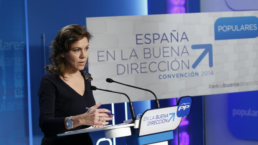 """Cospedal niega una """"fractura"""" o una """"convulsión"""" interna en el PP por la ausencia de Aznar o la renuncia de Mayor"""