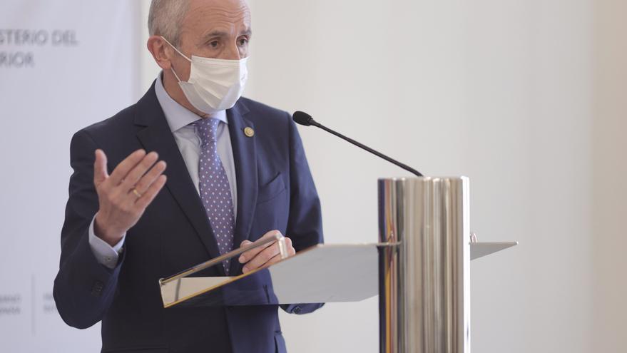 El vicelehendakari primero y consejero de Seguridad del País Vasco, Josu Erkorek, ofrece una rueda de prensa tras la reunión de la Junta de Seguridad en el Ministerio de Trabajo, a 18 de junio de 2021, en Madrid (España). La Junta de Seguridad es un organ