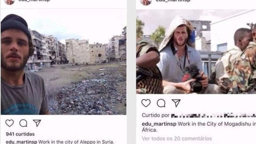 Dos fotografías que Eduardo Martins había compartido en su perfil de Instagram