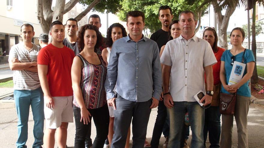 El cabeza de lista de ANC por Santa Cruz (C), junto a los miembros de su plancha y candidatos del Cabildo y Parlamento