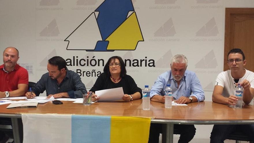 En la imagen, mesa presidencial del Consejo Político Insular de CC celebrado este jueves, 4 de septiembre, en Breña Baja.