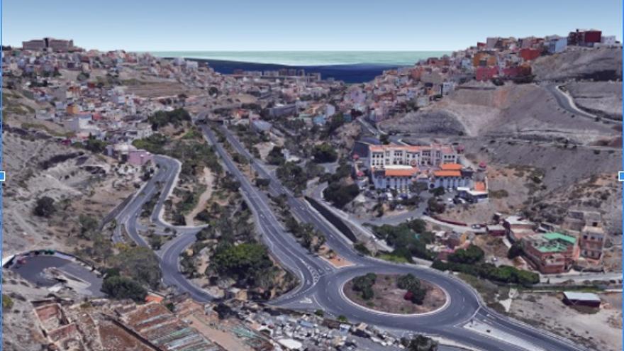 Alzado en 3D del Centro de Internamiento de Extranjeros, Barrios de San Juan y de San Roque (2017).