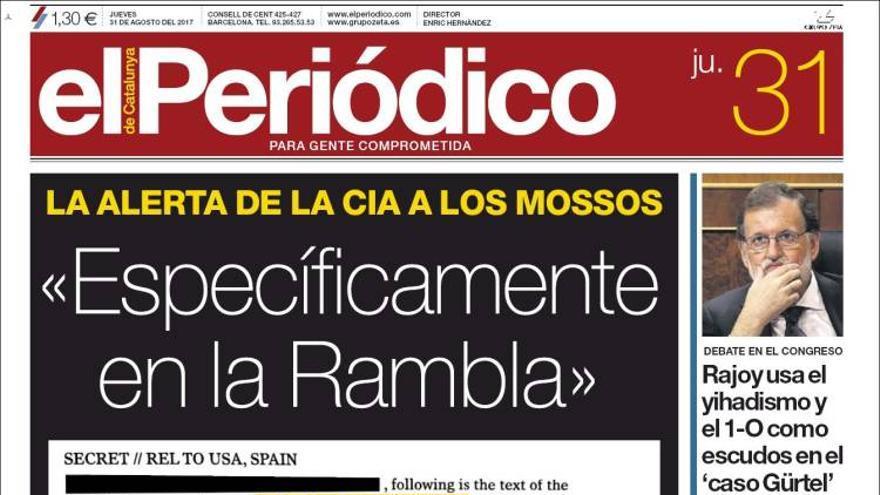Portada de El Periódico, los errores de redacción dieron la voz de alarma