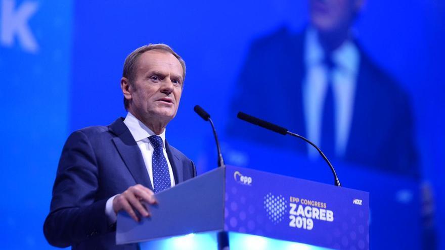 Donald Tusk, en el congreso de Zagreb en el que ha salido elegido presidente del PPE, el 20 de noviembre de 2019.