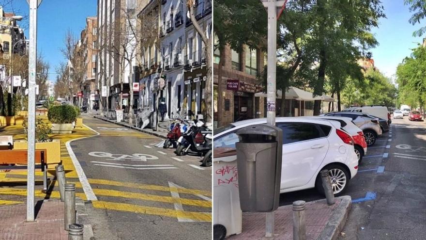 Tramo de la calle Galileo, durante la peatonalización y después