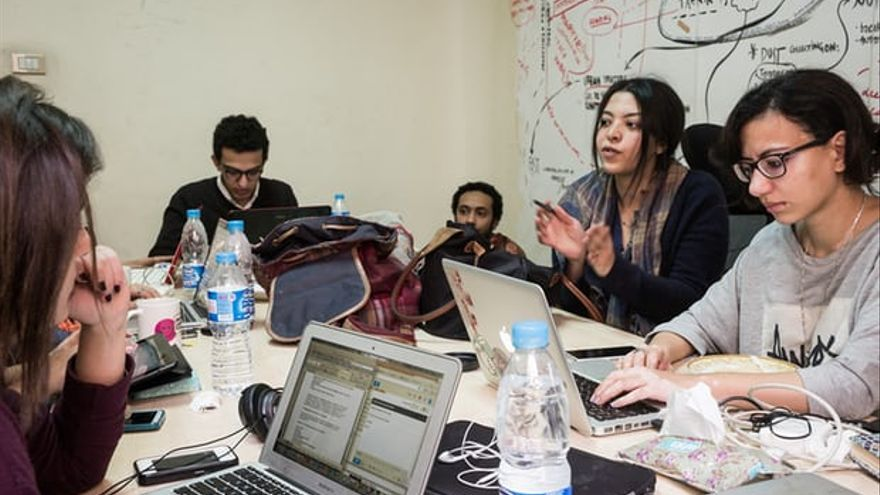 El equipo de Mada Masr, en Egipto.