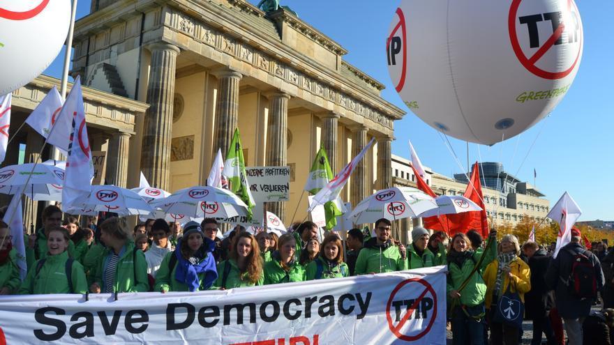 Manifestación contra el TTIP en Berlín. / E.B