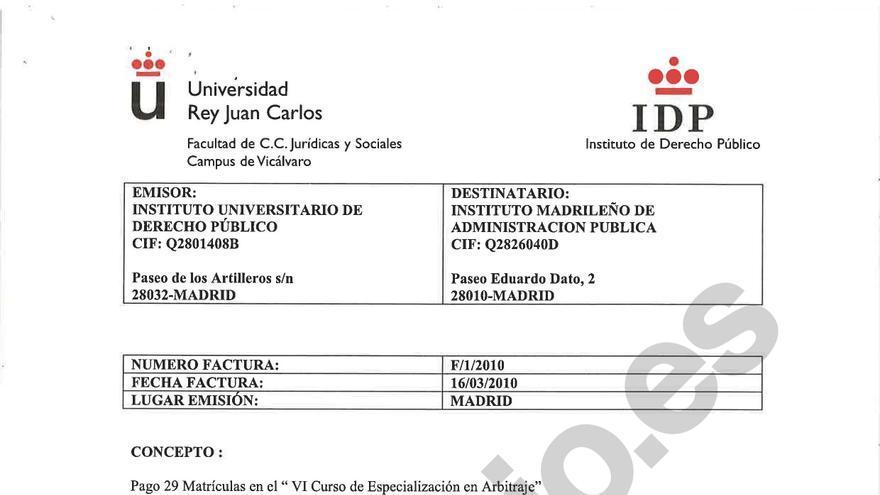 Factura del IDP a la Comunidad de Madrid